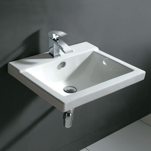 Synergy Geo 3 Wall Hung Basin 560mm 1 Taphole Basin With Bottle Trap