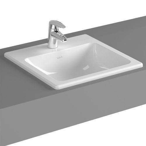 Vitra S20 Countertop Washbasin Square 45cm 1 Tap Hole 5463B003-0001