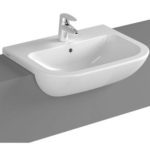 Vitra S20 Semi-Recessed Washbasin 55cm 1 Tap Hole 5524B003-0001