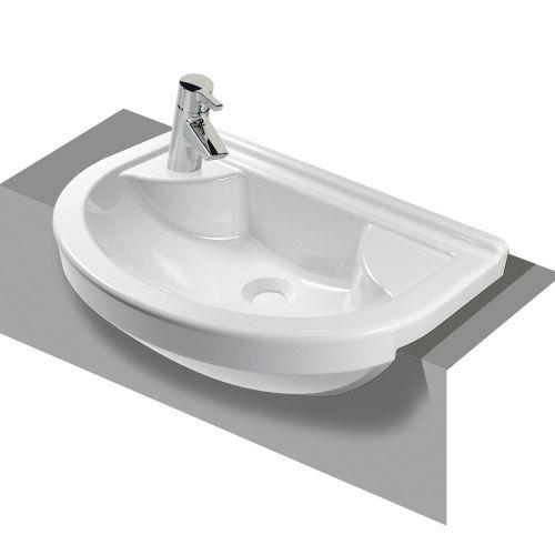 Vitra S50 Washbasin Left Hand Semi Recessed Compact 55cm 1 Tap Hole 5597B003-0028
