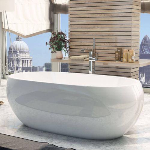 Synergy Pebble Modern Double Ended Bath 1660 x 850 x 610mm