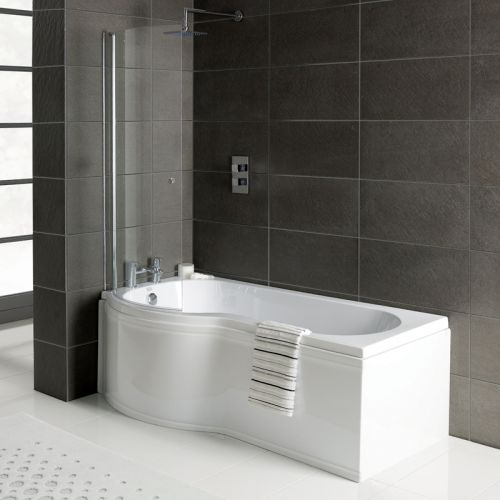 P Shape Shower Bath, Front Panel & Screen