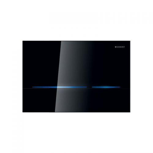 Geberit Sigma80 Dual Flush Plate Black Glass - 116.090.SG.1