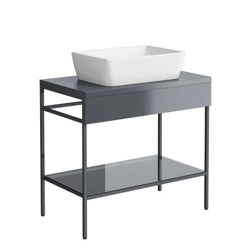 Synergy Berg Grey 800mm Floor Standing Furniture Unit & Countertop Basin