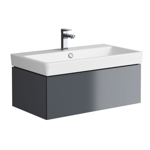 Synergy Berg Grey 800mm Wall Mounted Vanity Unit and Basin