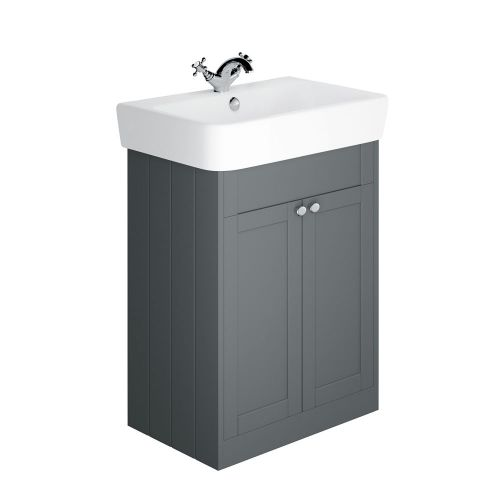 Synergy Henbury Grey 700mm Floor Mounted Vanity Unit with Basin