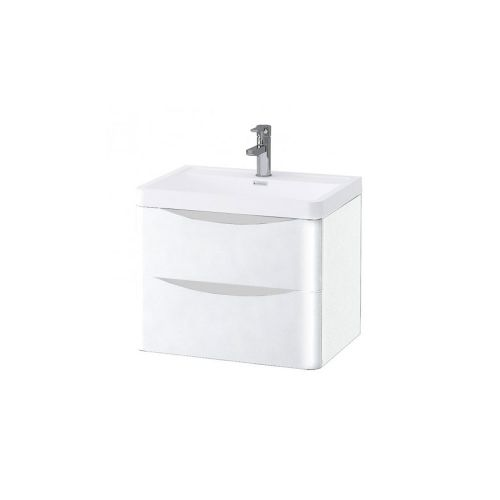 Synergy Kiev White Gloss 600mm Wall Mounted Vanity Unit and Basin