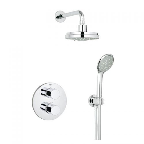 Grohtherm 3000 Shower Mixer With Rainshower Head - Cosmopolitan Perfect Shower Set 160