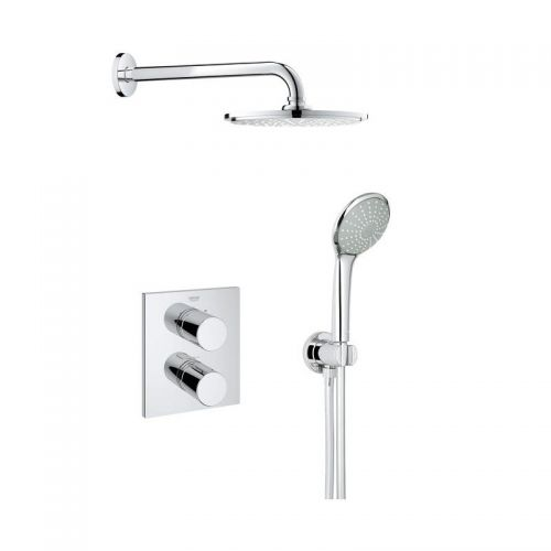 Grohtherm 3000 Shower Mixer With Rainshower Head - Cosmopolitan Perfect Shower Set 210
