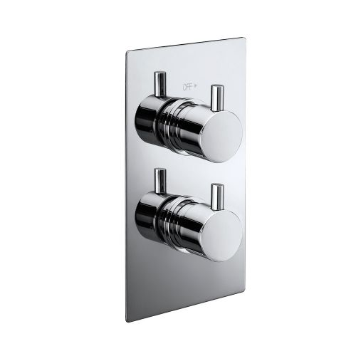 Synergy Twin Concealed Rectangular Shower Valve - Round Handles