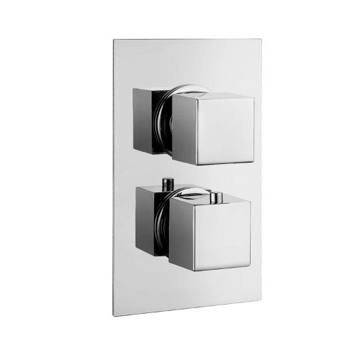 Synergy Twin Concealed Rectangular Shower Valve - Square Handles