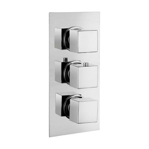Synergy Triple Concealed Rectangular Shower Valve - Square Handles
