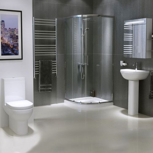 Modern Bathroom Suite with Quad Shower Enclosure